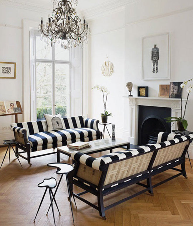 Black and White Striped Sofas with Fireplace