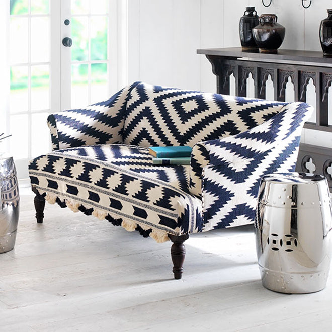 Black and White Ikat Upholstered Loveseat