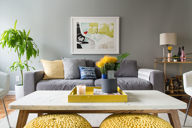 Gray Living Room with Yellow Green Decor Accessories