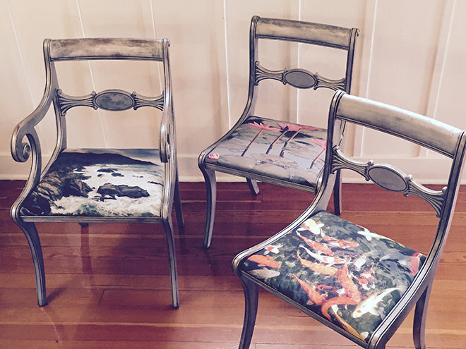 Antique Chairs with Photo Upholstery
