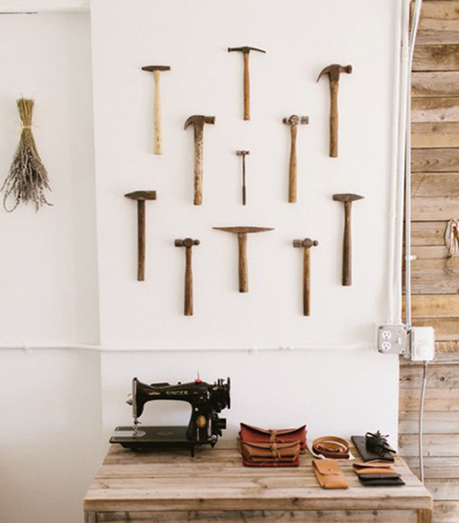 Collection of Hammers Hanging on Wall