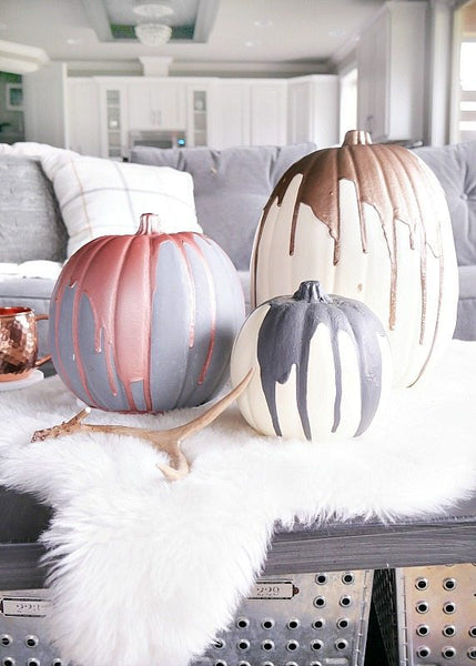 Modern Metallic Drip Pumpkins Halloween Decor from Narrative