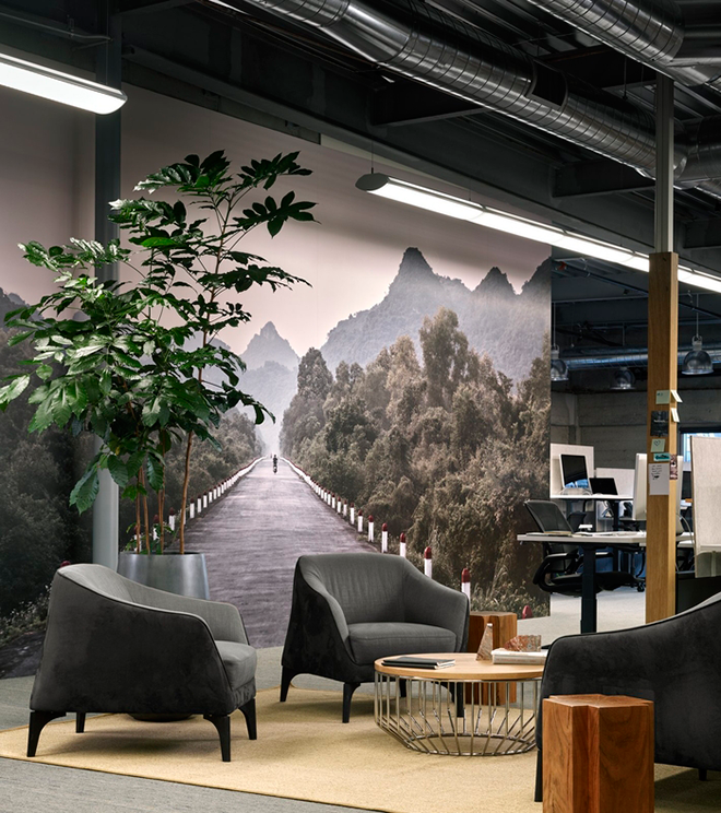 Office Space with Full Wall Photo of Mountains
