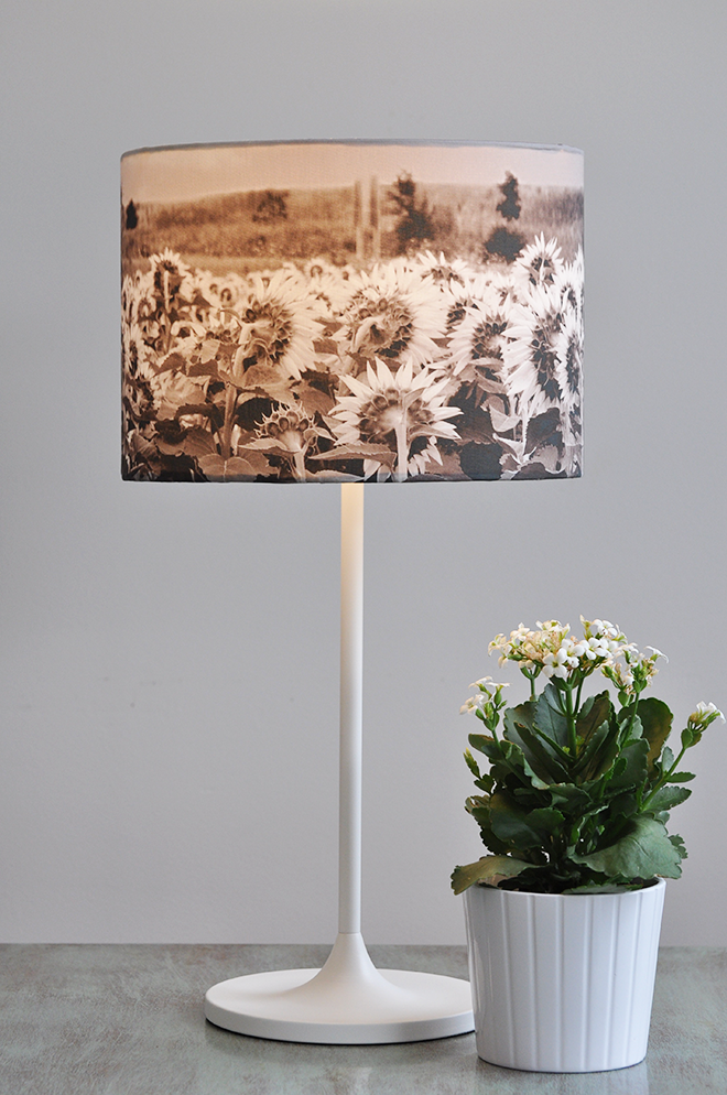 White Lamp with Lampshade Handmade from Sunflower Fields Photo