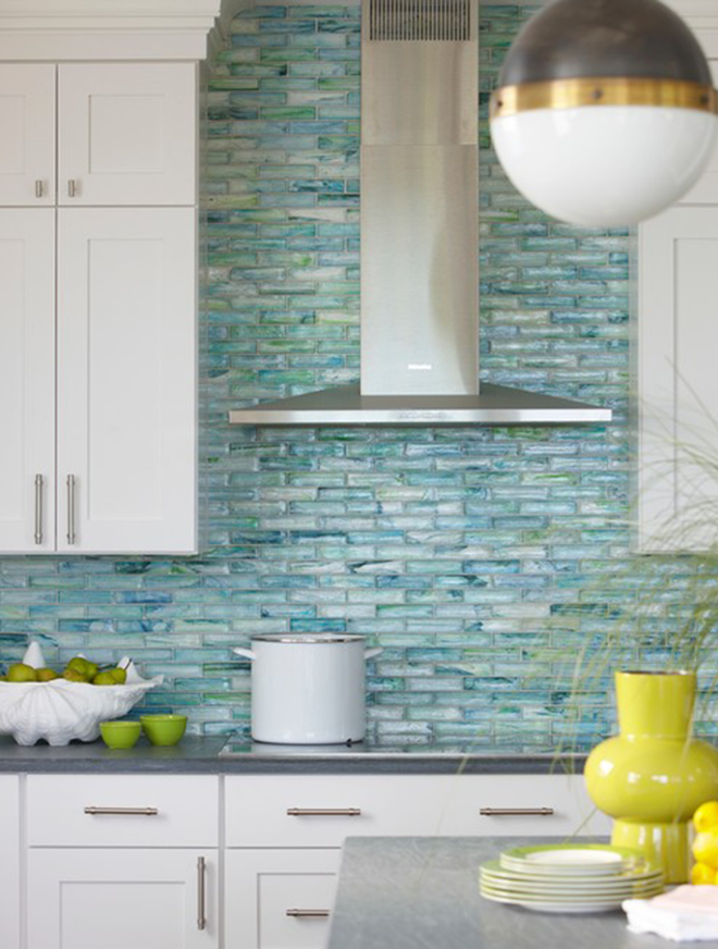Blue Sea Glass Tile Kitchen Backsplash with White Cabinets