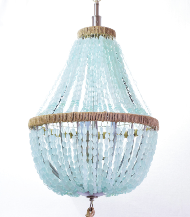Blue Sea Glass Chandelier Hanging Ceiling Light