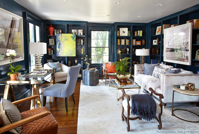 Eclectic Navy Blue Library with Painted Woodwork an Built in Bookshelves