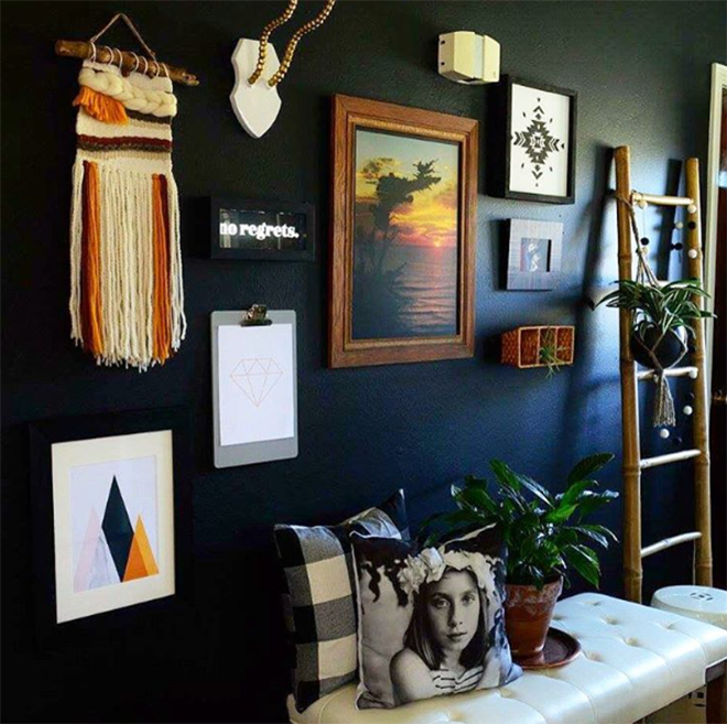 Black Painted Bohemian Gallery Wall
