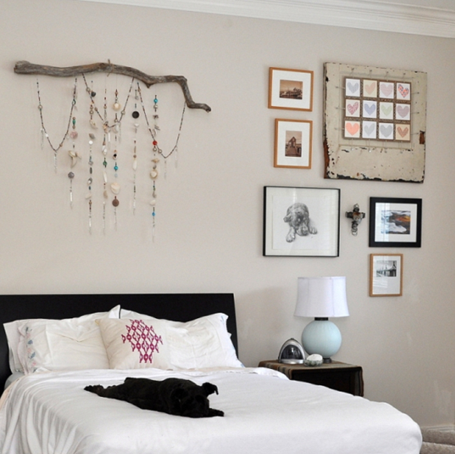 Bedroom Driftwood Wall Art with Hanging Beads and Crystals