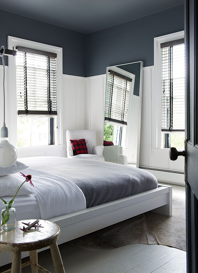 White Masculine Bedroom with Navy Painted Ceiling