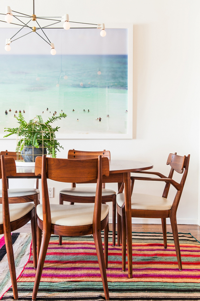 Mid Century Modern Dining Room Set with Aerial Beach Photograph