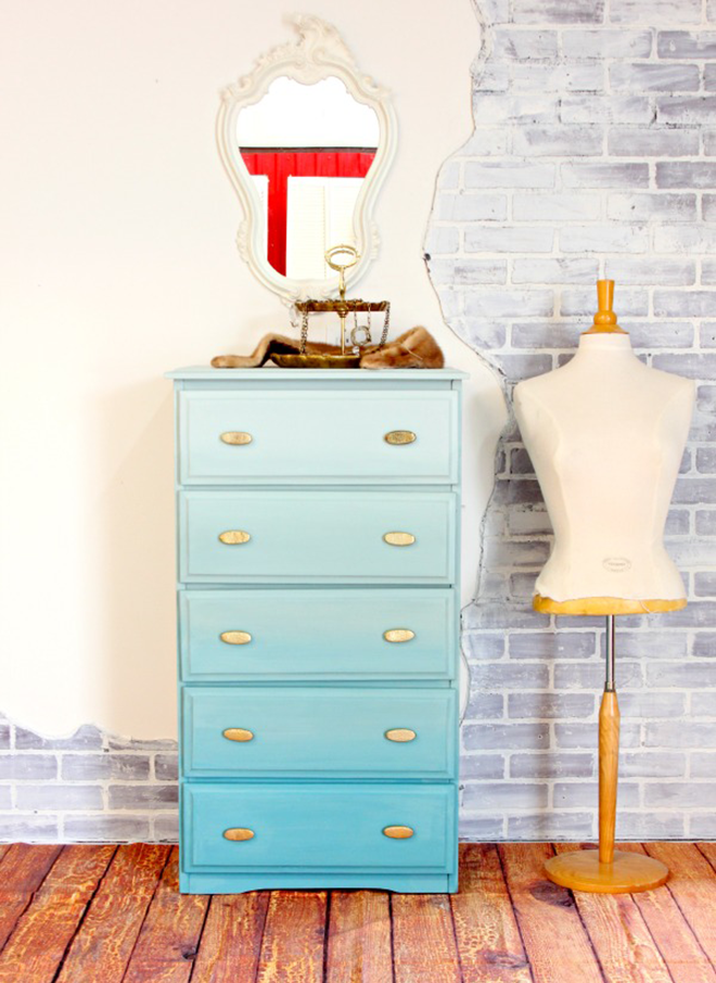 Turquoise Blue Ombre Painted Antique Dresser