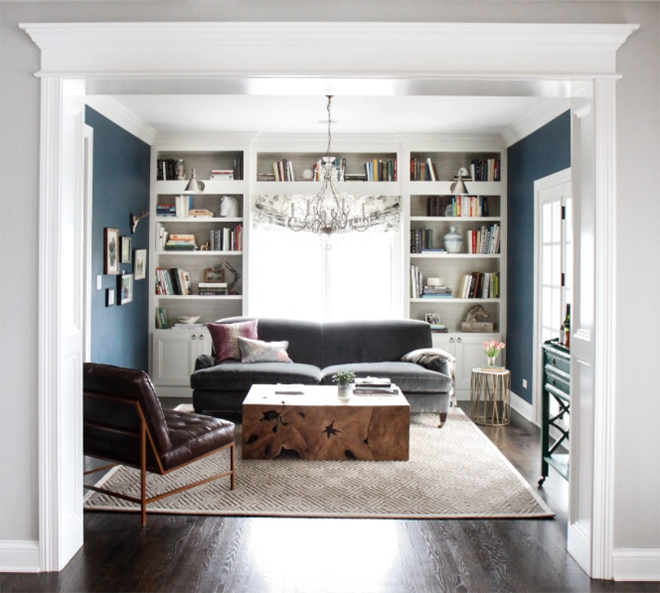 Navy Blue Family Room with Built in Bookshelves and White Woodwork