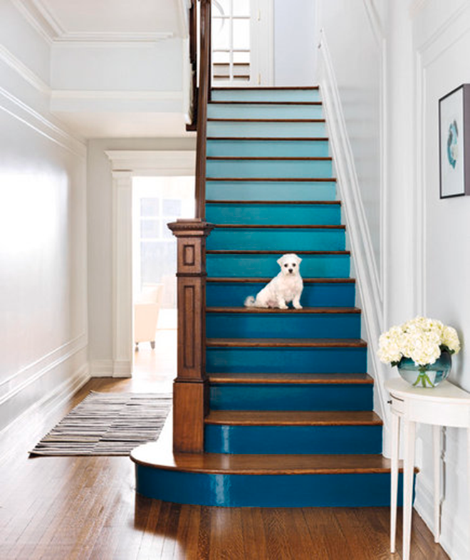 Blue Teal Turquoise Ombre Gradient Painted Staircase