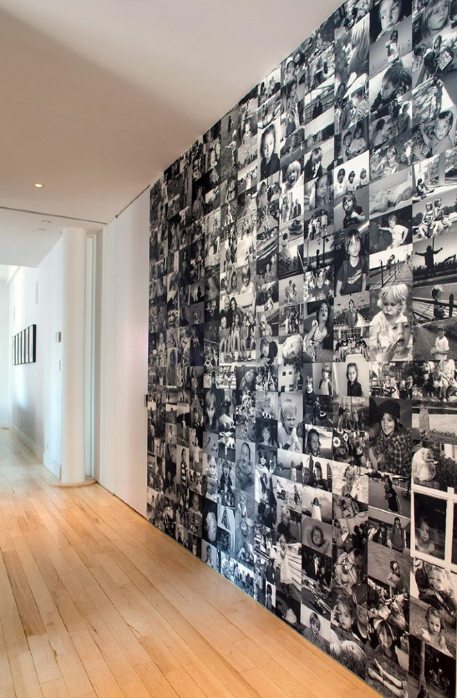 Hallway Wallpaper Made from Black and White Family Photos