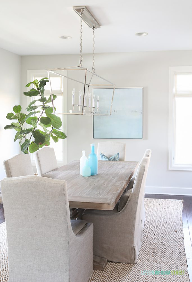 Coastal Dining Room with Sea Glass Tabletop Vases