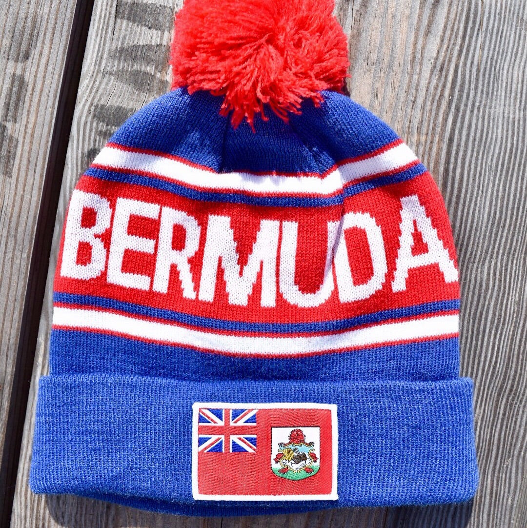 Bermuda Beanie - Blue with Flag Patch