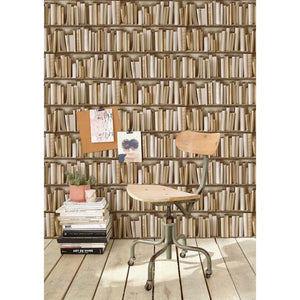 Ivory Bookcase Wallpaper