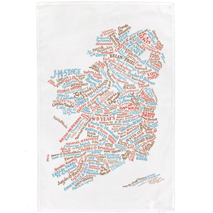 Literary Map of Ireland Tea Towel