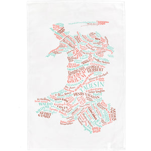 Literary Map of Wales Tea Towel