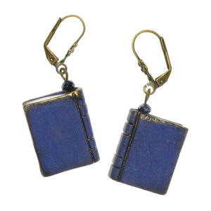 Mini Book Earrings - Blue
