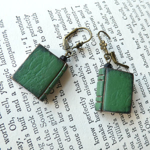 Mini Book Earrings - Green