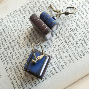 Tiny Book Earrings - Blue/Brown