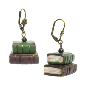 Tiny Book Earrings - Green/Brown