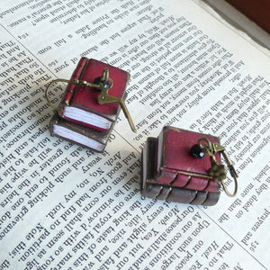 Tiny Book Earrings - Red/Brown