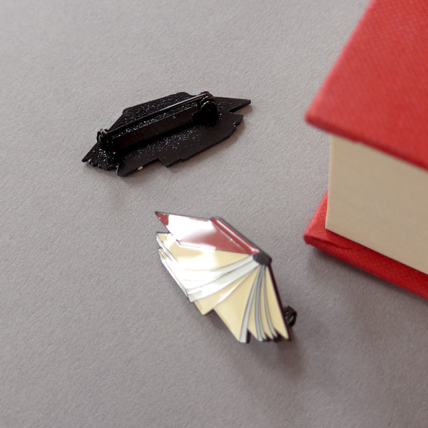 Flying Book Enamel Pin