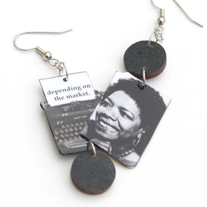 I Know Why the Caged Bird Sings Typewriter Earrings