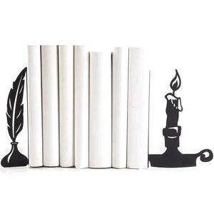 Candle and Quill Bookends