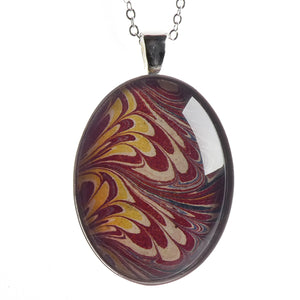 Marbled Endpaper Pendant 'Serpentine'