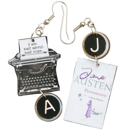Jane Austen Persuasion Typewriter Earrings