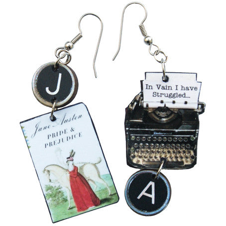 Jane Austen Pride and Prejudice Typewriter Earrings