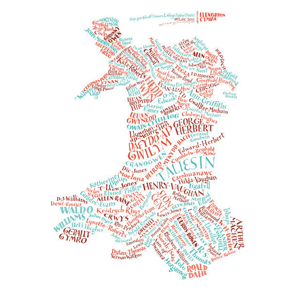 Literary Map Of Wales Map Llenorion Cymru The Literary Gift - Welsh language map