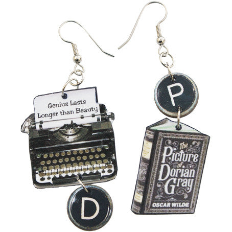 Oscar Wilde Typewriter Earrings