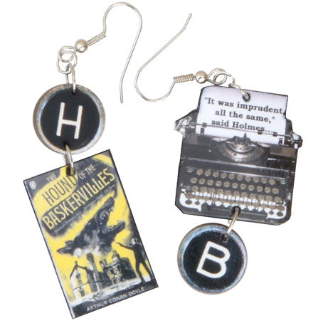 The Hound of the Baskervilles Typewriter Earrings