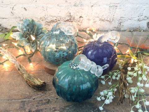 Three blown glass pumpkins - teal, spotted & purple