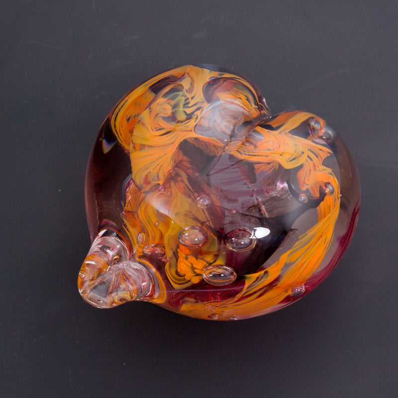 Heart Paperweight - Orange/Cranberry