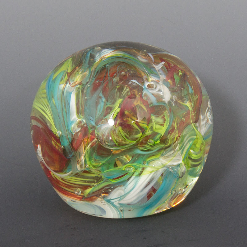 Blue and Red Swirl Paperweight
