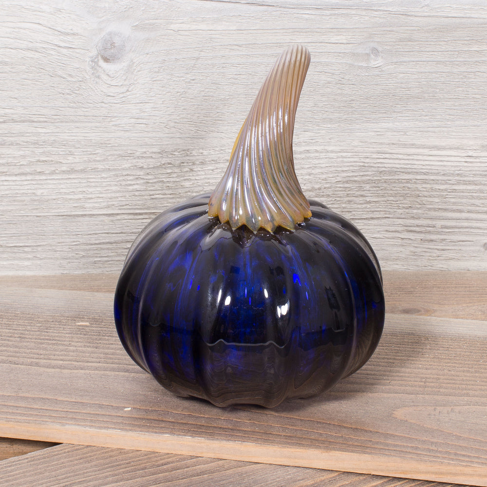 Midnight Blue Glass Pumpkin