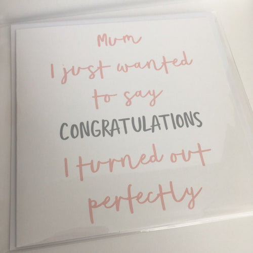 Mother's Day card - CONGRATULATIONS