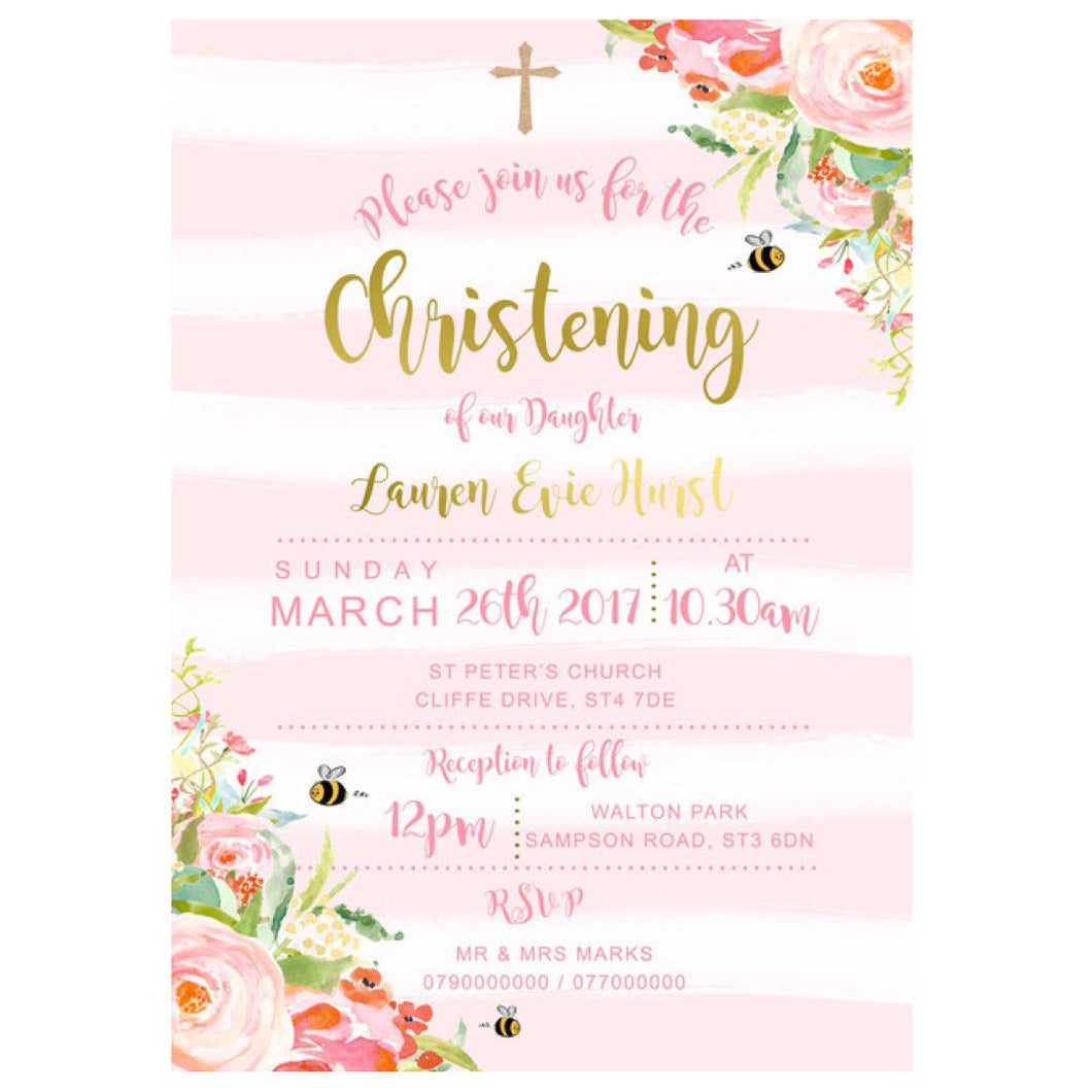 Christening invitations - floral design
