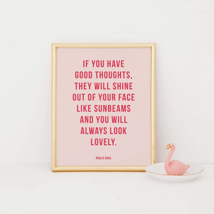 If you have happy thoughts Roald Dahl print