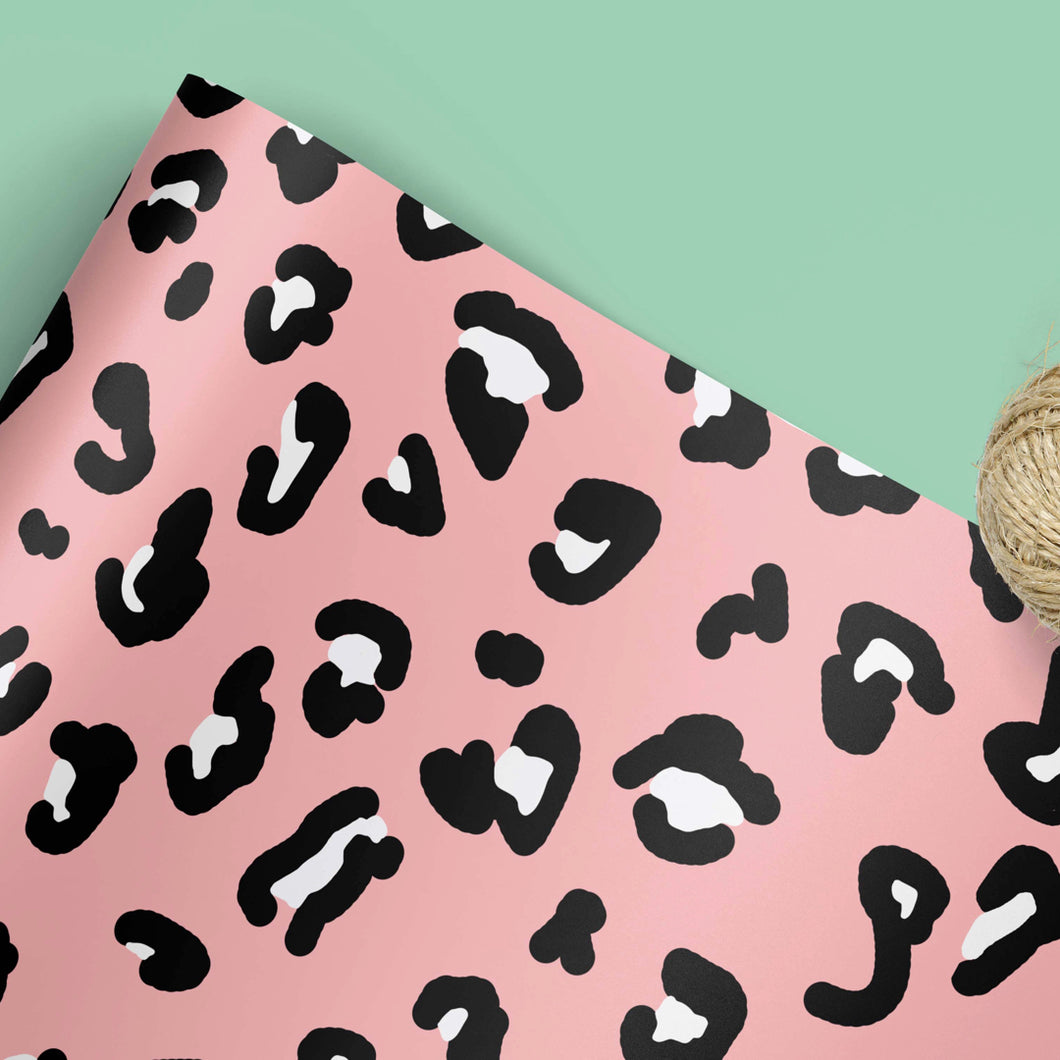 Pink leopard print gift wrap