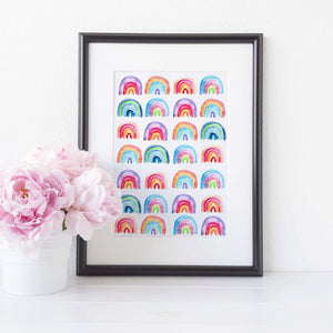 Colourful rainbows print