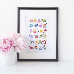 Colourful alphabet print