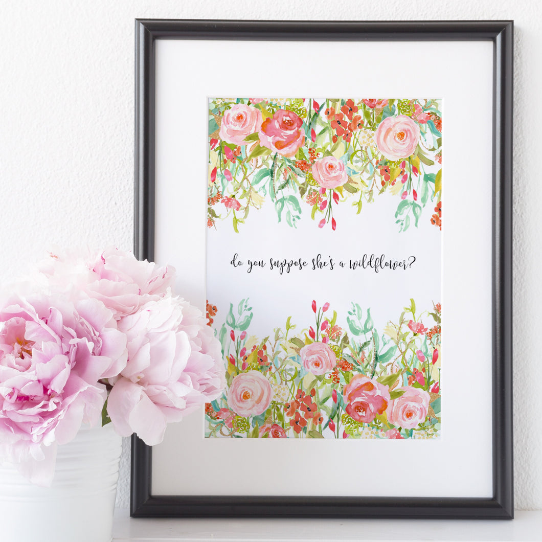 Floral border print - choose your wording
