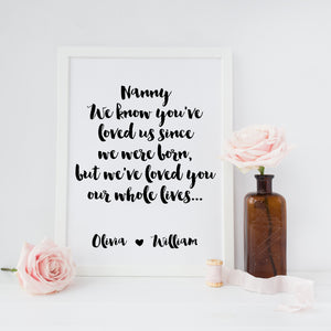 We've loved you our whole lives print
